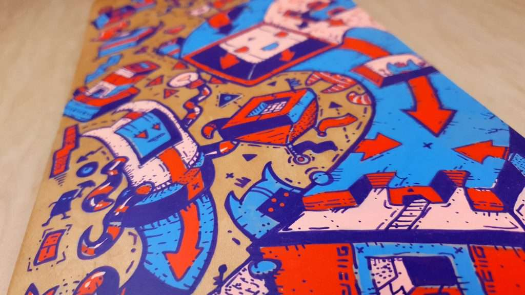 """Close up of Handpainted skateboard art called """"outmoded minds"""" by dune haggar dunsborough wa"""
